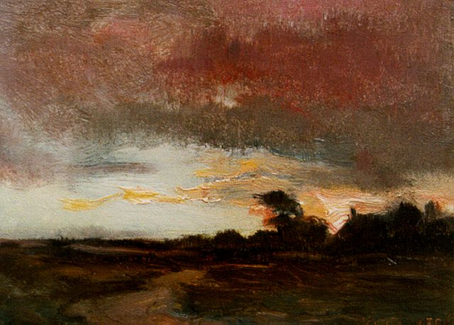 Louis Albert Roessingh | A landscape by sunset, oil on panel, 12.0 x 16.0 cm, signed l.r. with initials and dated 1896
