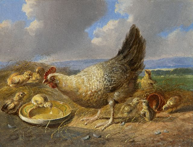 Albertus Verhoesen | Hen with chicks in extensive landscape (pair with 21929), oil on panel, 14.5 x 19.3 cm, signed l.r. and dated 1880