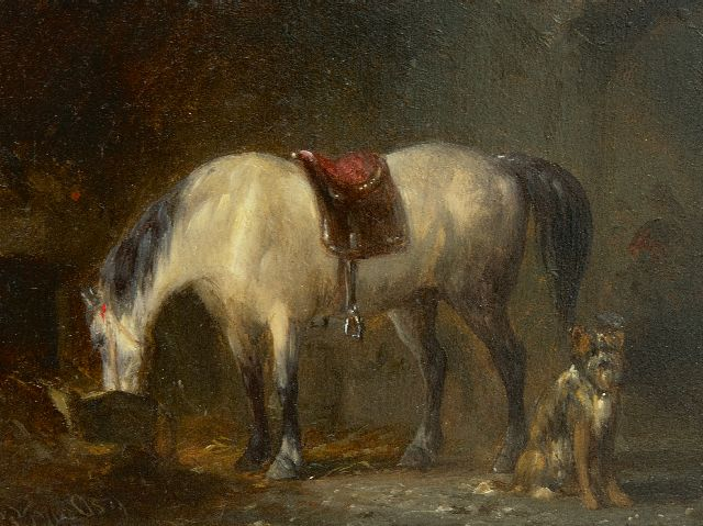 Pieter Frederik van Os | In the stable, oil on panel, 9.1 x 12.2 cm, signed l.l.