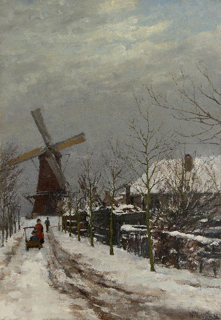 Wijsmuller J.H.  | Children in the snow at a windmill, oil on canvas 57.5 x 40.7 cm, signed l.r.