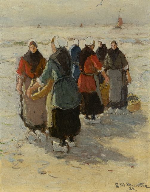 Morgenstjerne Munthe | Waiting for the catch on the beach in Katwijk, oil on board, 32.4 x 26.4 cm, signed l.r. and dated '24
