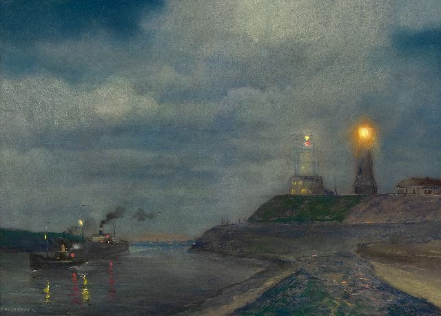 Herman Heijenbrock | Harbour of IJmuiden at dusk with the lighthouse and semaphore, pastel on paper, 64.5 x 86.5 cm, signed l.l.
