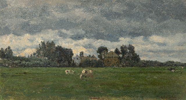 Roelofs W.  | Rainy weather, oil on canvas 25.1 x 44.8 cm, signed l.r.