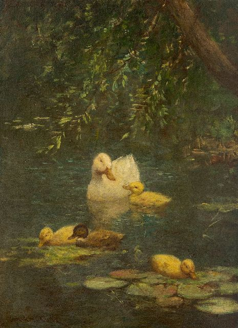 Constant Artz | Duck and ducklings in a forest pond, oil on panel, 23.8 x 17.8 cm, signed l.l.