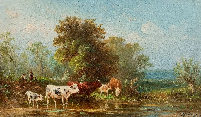Albert Jurardus van Prooijen | Landscape with wading cattle, oil on panel, 8.7 x 15.0 cm, signed l.r.