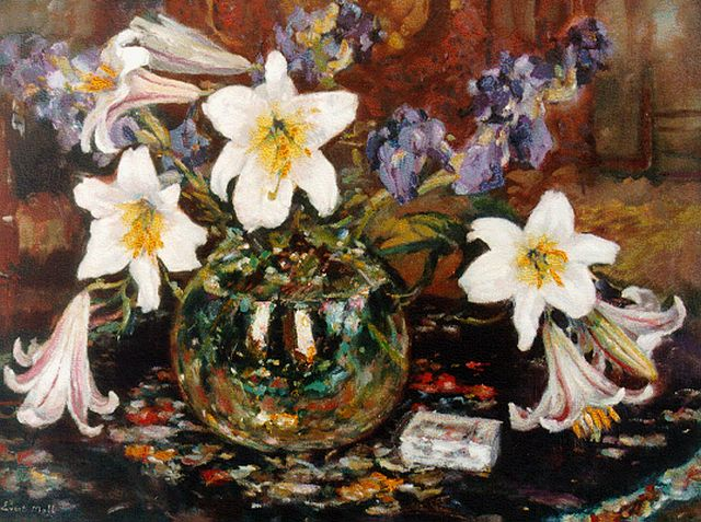 Evert Moll | Still life with lilies, oil on canvas, 60.0 x 80.1 cm, signed l.l.