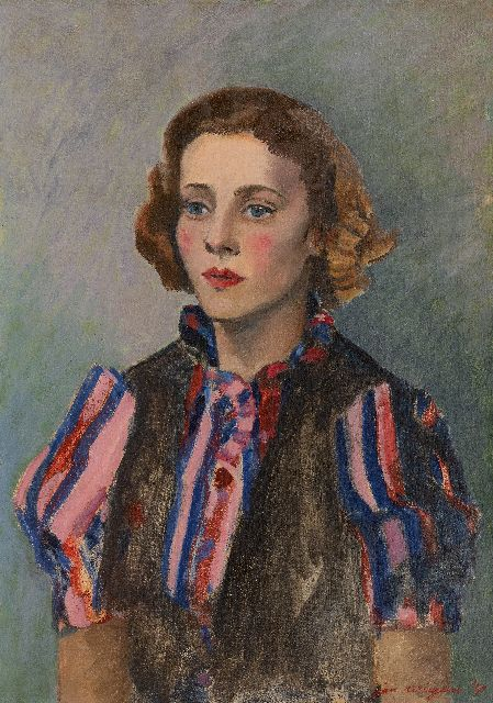 Jan Wiegers | Woman in a striped blouse, oil on canvas, 65.1 x 46.1 cm, signed l.r. and dated '40