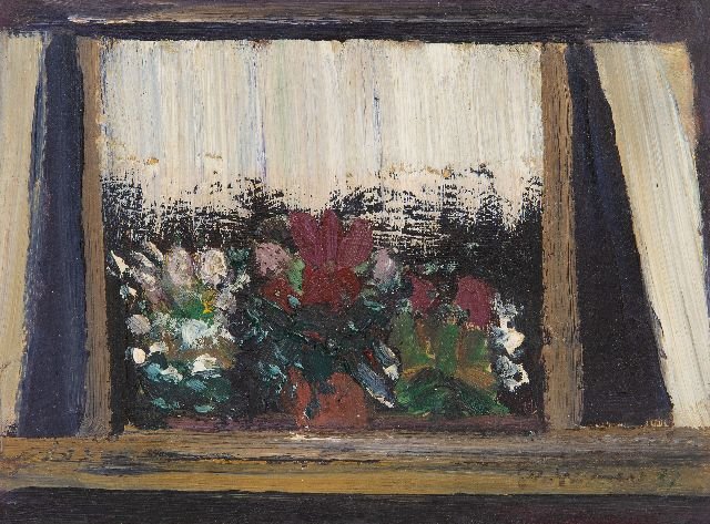 Grassère G.  | Flowers in a window, oil on board 15.4 x 20.3 cm, signed l.r. and dated '37