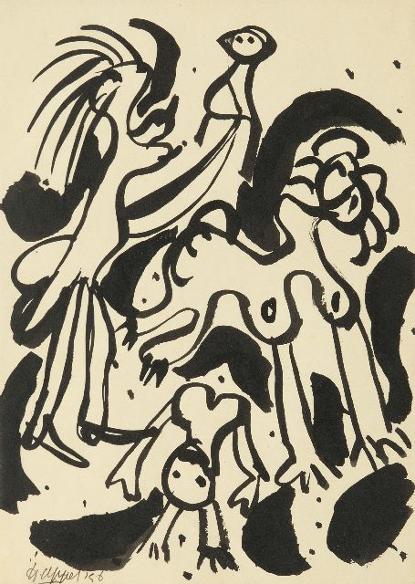 Karel Appel | Bird figures, Indian ink on paper, 31.5 x 23.3 cm, signed l.l. and dated '56