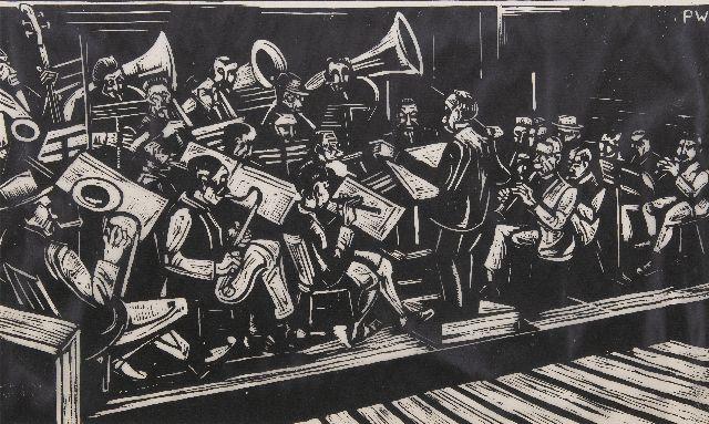 Petrus Jacobus Maria Wiegman | The Royal harmony of Thorn, woodcut, 33.0 x 53.5 cm, signed u.r. with initials in the bloc and executed ca. 1925
