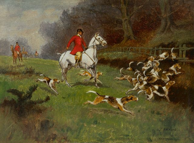 J. Leonard | Fox hunt, oil on panel, 24.1 x 32.6 cm, signed l.r.