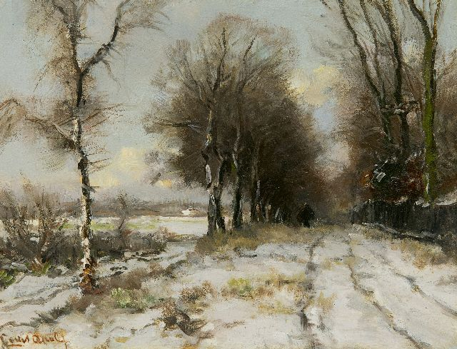 Louis Apol | Wood gatherer on a snowy path, oil on panel, 21.8 x 28.1 cm, signed l.l.