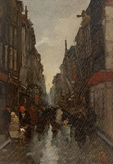 Cor Noltee | Crowdy shopping street, oil on canvas, 50.3 x 35.2 cm, signed l.r.