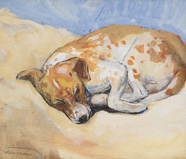 Hendrik Johannes Haverman | Sleeping dog, watercolour and gouache on paper, 15.7 x 18.4 cm, signed l.l. with studio stamp