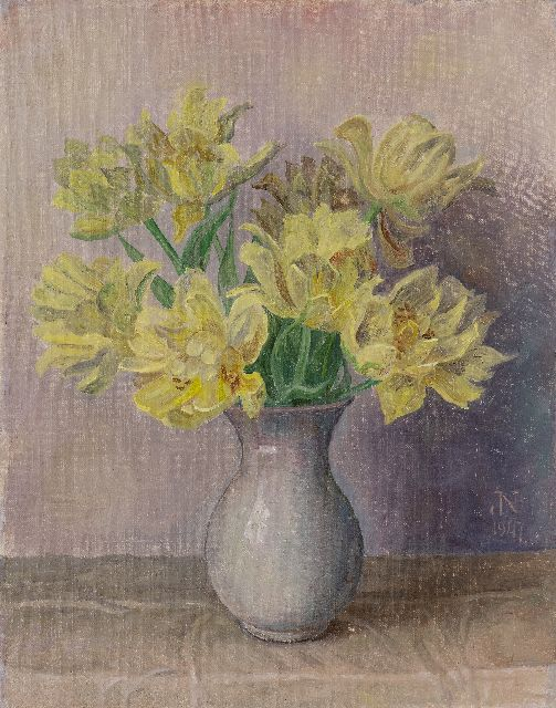 Jakob Nieweg | Yellow tulips, oil on canvas, 45.2 x 35.4 cm, signed l.r. with monogram and dated 1947