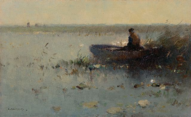 Aris Knikker | Fisherman in a boat in the reeds, oil on panel, 22.0 x 35.0 cm, signed l.l.