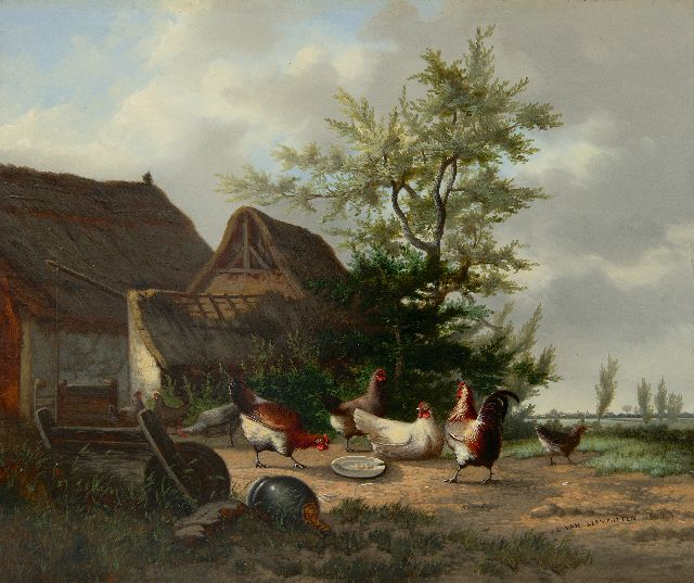 Leemputten J.L. van | Farmyard with rooster and chickens, oil on panel 28.1 x 33.7 cm, signed l.r. and dated 1863
