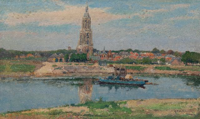 Gerbrand Frederik van Schagen | A vieuw of Rhenen and the Cunerakerk, the ferry in the foreground, oil on canvas, 38.4 x 64.8 cm, signed l.r. and dated 1929