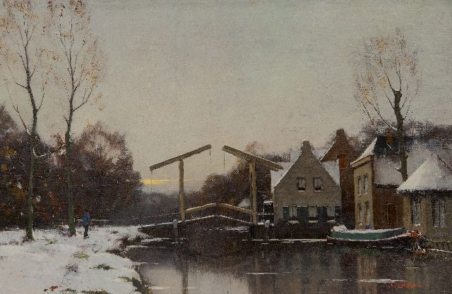 Evert Jan Ligtelijn | Village in winter with a drawbridge, oil on canvas, 32.2 x 48.6 cm, signed l.r. and painted ca. 1924