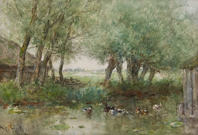 Willem Roelofs | Ducks in the water under willow trees, watercolour on paper, 33.7 x 47.9 cm, signed l.l.
