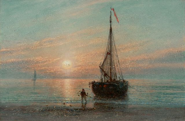 Petrus Paulus Schiedges | Returned fishing boat at sunset, oil on panel, 18.7 x 27.9 cm, signed l.r. and dated '65