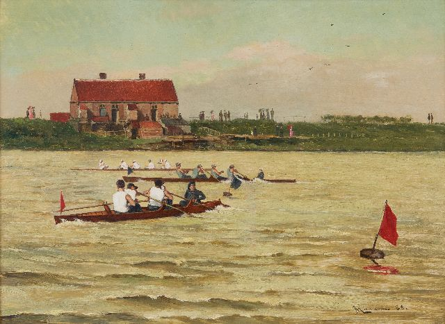 Jan Ludovicus Moerman | Coxed four regatta, oil on panel, 24.5 x 33.1 cm, signed l.r. and dated '88