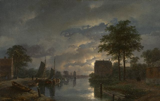 Andreas Schelfhout | River view by moonlight, oil on panel, 32.5 x 45.9 cm, signed l.r. and dated '57