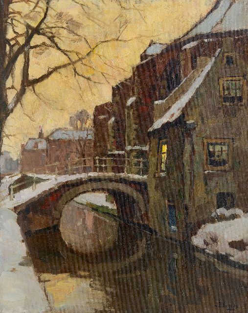 Ben Viegers | The Nieuwe Kerk in Delft in winter, oil on canvas, 50.1 x 40.0 cm, signed l.r.