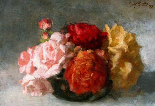 Georg Rueter | Roses in a vase, oil on canvas, 28.0 x 39.3 cm, signed u.r. and dated '58