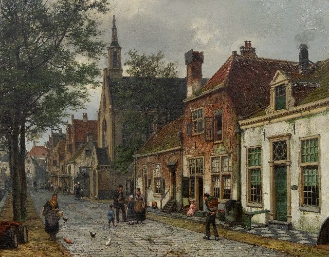 Willem Koekkoek | View in a Dutch town, oil on canvas, 54.6 x 69.9 cm, signed l.r.