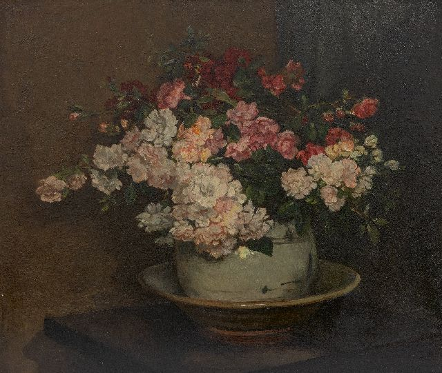 Johannes Evert Hendrik Akkeringa | Flower still life, oil on canvas, 46.0 x 54.0 cm, signed u.l.