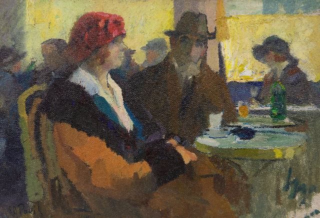 Elie Pavil | Au café, oil on canvas, 38.3 x 55.4 cm, signed l.l.
