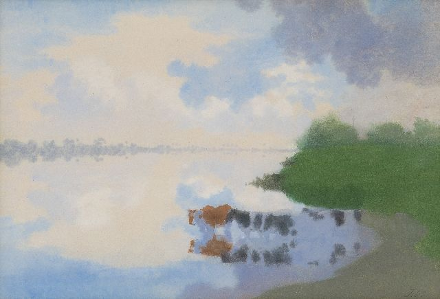 Jan Voerman sr. | Wading cattle, watercolour on paper, 27.3 x 39.7 cm, signed l.r. with initials and painted in the 1890's
