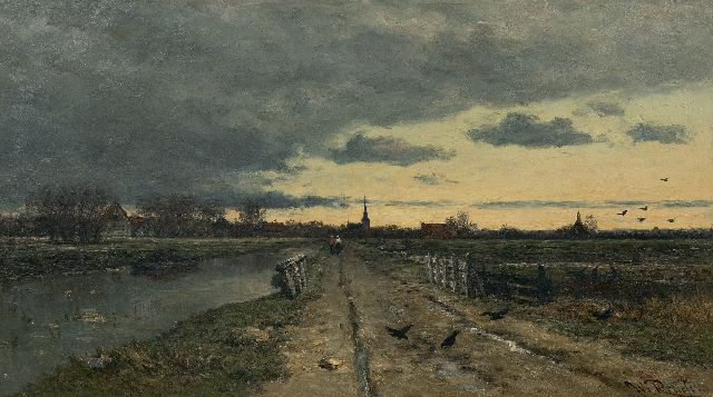 Willem Roelofs | Landscape with an emerging storm, oil on canvas, 56.0 x 95.8 cm, signed l.r.