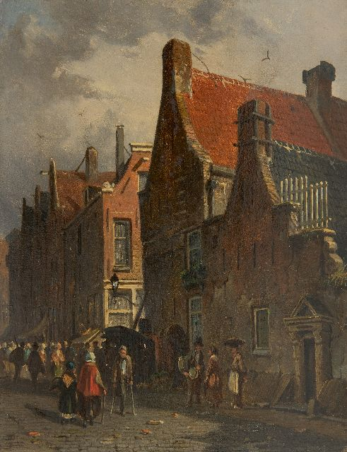 Adrianus Eversen | A Dutch town, oil on panel, 19.5 x 15.5 cm, signed l.l. with monogram and on the reverse in full on a