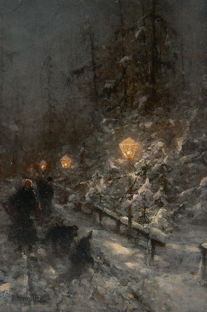 Ludwig Munthe | Snowy road with figures by lamplight, oil on panel, 40.9 x 27.7 cm, signed l.l.