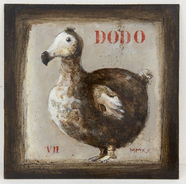 Evert van Hemert | Dodo, acrylic on board, 27.8 x 27.9 cm, signed l.l. with initials and dated MMXX
