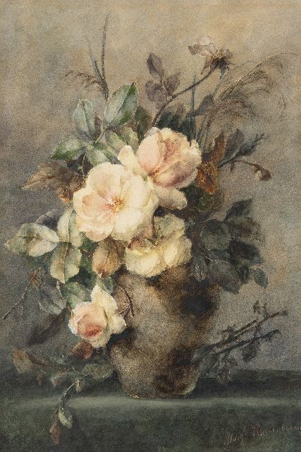 Margaretha Roosenboom | Pink roses in a stoneware vase, watercolour on paper, 65.0 x 43.4 cm, signed l.r.