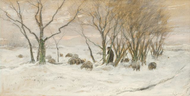 Anton Mauve | Shepherd and sheep in the snow, watercolour on paper, 25.3 x 48.4 cm, signed l.r.