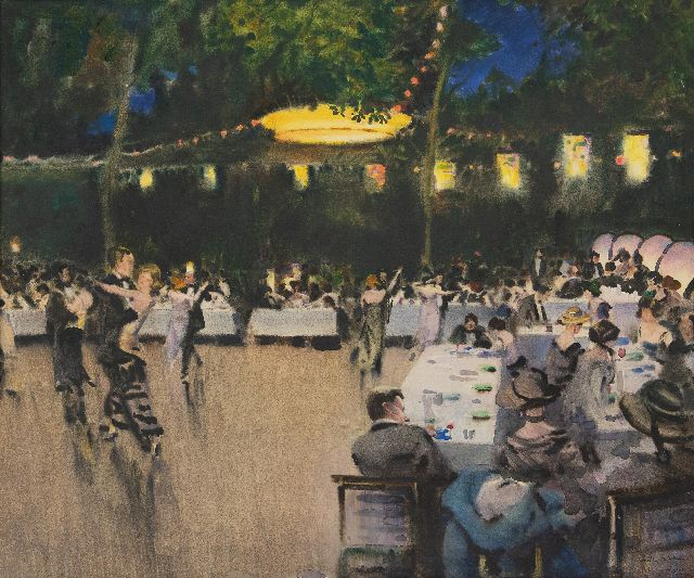 A. Romilly Fedden | Party night, watercolour on paper, 52.5 x 64.0 cm, signed l.r. and dated 1923