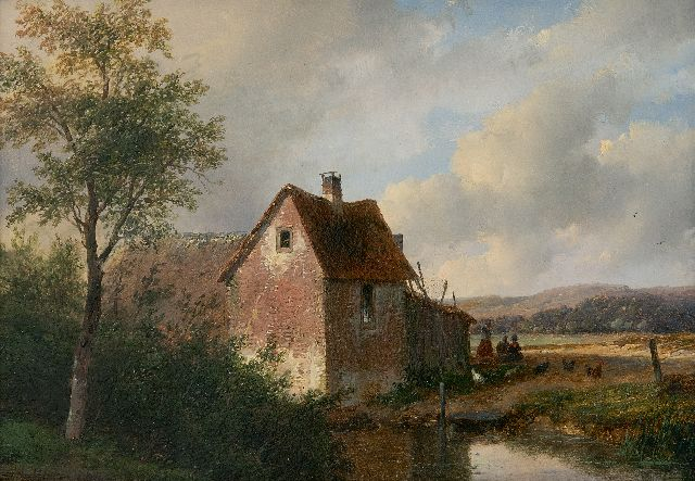 Andreas Schelfhout | Landscape witha  farm, oil on panel, 20.5 x 28.5 cm, signed l.l. and dated 1866
