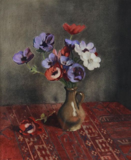 Willem Witsen | Anemones in earthenware vase, watercolour on paper, 44.5 x 37.0 cm, signed l.l. and painted ca. 1920