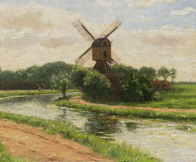Simon Willem Maris | Windmill 't Haantje along the Smal Weesp in Weesp, oil on panel, 45.0 x 54.2 cm, signed l.r.