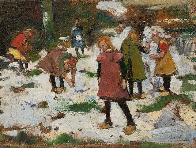 Willem Korteling | Children playing in the snow, oil on canvas, 33.5 x 44.3 cm, signed l.r.