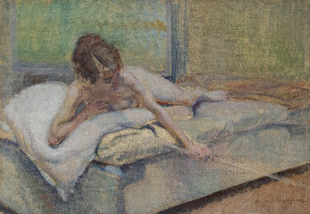 Adrien Karbowsky | Female nude on a bed, oil on canvas, 38.3 x 55.1 cm, signed l.r. and dated 1912