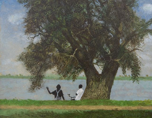 Herman Berserik | Gesprek aan de Waal (Conversation by the river Waal), acrylic on panel, 29.5 x 37.5 cm, signed l.r. and dated '93