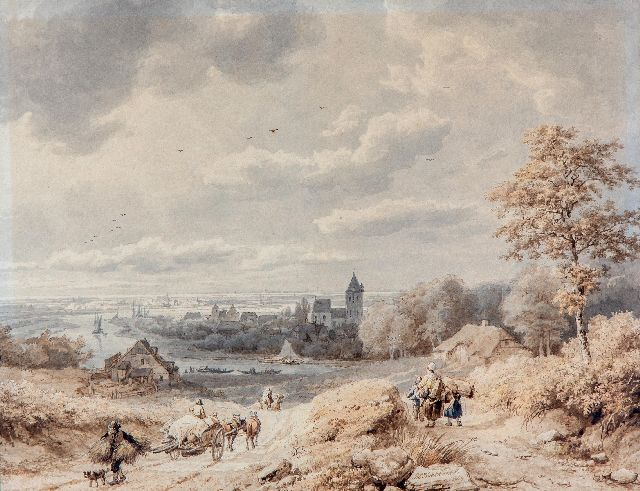 Barend Cornelis Koekkoek | A view of the river Rhine near Kleve, washed ink on paper, 23.0 x 30.0 cm, signed l.c. and dated 1849