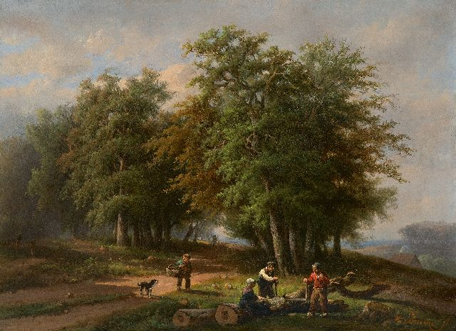 Adrianus Hendrikus de Bruïne | Lumberjacks and country folk on a forest path, oil on canvas, 35.8 x 47.9 cm, signed l.r.