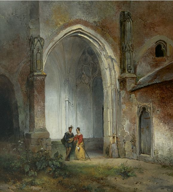 Wijnand Nuijen | A man and woman in the cloister of the Dom Church in Utrecht, oil on panel, 49.0 x 44.8 cm, signed l.r. and dated 1832