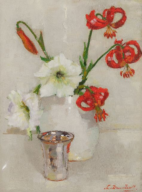 Lucie van Dam van Isselt | Red lillies, oil on panel, 40.2 x 30.1 cm, signed l.r. and painted ca. 1930